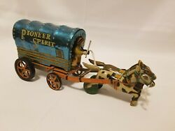 Vintage Pioneer Spirit Tin Covered Wagon - Made In Japan Friction Toy