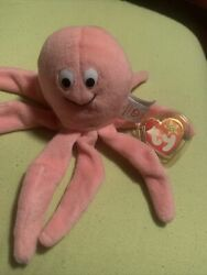 Rare Retired Ty Beanie Baby Inky The Octopuss W/ 2 Tush Tags Pe Pellets