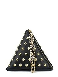 Black/gold Studded Purse Small Bag Gold Chain Wristlet Pouch Free Shipping Sale