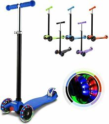 Kids Scooter Deluxe Adjustable Kick Scooters Girls Boys 3led Wheels Outdoor Fun