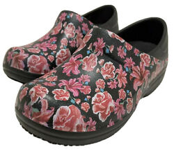 Crocs Neria Pro Work Shoes Clogs Roses Flowers Women's Size 5 / W5 New