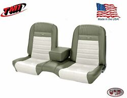 Deluxe Pony Seat Upholstery Mustang Convert Front/rear Bench - Ivy Gold And White