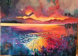 Original Large Fire From The Sky - Hawaii Ocean Landscape Abstract Art Painting