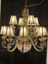 French Crystal Beaded Chandelier Gilt Metal Tole 2 Tier 13 Light