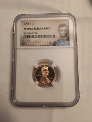 2002-s Ngc Pf70 Ultra Cameo Proof Lincoln Penny Coin 200.00 List