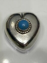 Taxco Mexico 925 Sterling Silver Pill Snuff Box Signed Th-46 W/ Blue Turquoise