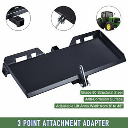 3-point Attachment Adapter W/hitch For Kubota Bobcat Skidsteer Tractor Loader Os