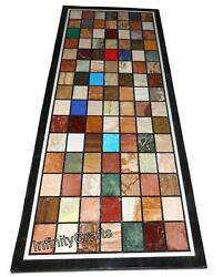 Chess Pattern With Gemstones Coffee Table Top Black Office Table 24 X 48 Inches