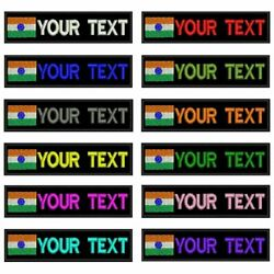 Custom India Flag Army Military Name Patches Personalized Iron On Hook Backing