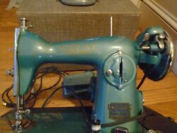 Vintage Super Deluxe Precision Sewing Machine Teal