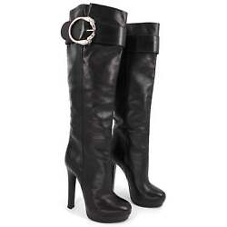 Josephine Metal Horse Ring Buckle Knee Boots Size 36