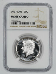 1967 Sms Kennedy Half Dollar 50c Ngc Certified Ms 68 Mint Unc Cameo 001