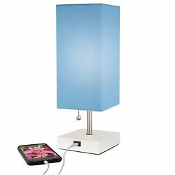 Modern Blue Table Lamp with Quick charge USB Port. For Bedside Desk amp; More...