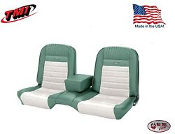 Deluxe Pony Seat Upholstery Mustang Coupe Front/rear Bench - Turquoise And White