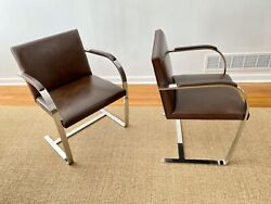 Pair Of Vintage Mies Van Der Rohe Brno Chairs, Brown Leather, Polished Ss, Knoll
