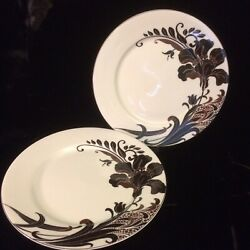 Mikasa Cocoa Blossom Accent Salad Plates Pair Lot Of 2 Lily Mint With Labels