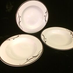 Mikasa Cocoa Blossom Sl170 Rim Soup Bowls Lot Of 3 Mint With Labels New