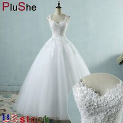 Sleeveless Beading Wedding Dresses Ball Gown With Pearls Bridal Marriage Dress