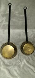Set Of 2 Vintage Brass Ladle With Long Iron Handle Dipper Scoop