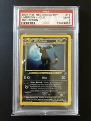 Umbreon Holo Edition 1 13/75 Neo Discovery Wizards Psa 9 / Pokemon Card