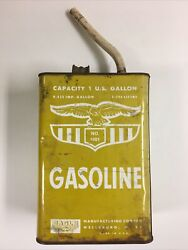 Vintage Eagle Gas Can - 1 Gallon - No. 1001 - With Spout - Yellow