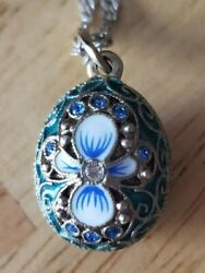 Vtg Russian Cloisonne Solid Sterling Egg .925 India Necklace 18 Zircon