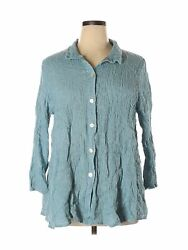 Christopher Calvin Women Blue 3 4 Sleeve Button Down Shirt 1X Plus $32.99
