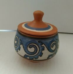 Vintage Mixed Blue And Red Clay Bowl W Lid Pottery