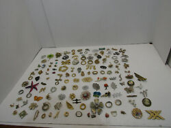 Huge Lot Vintage 125 + Costume Jewelry Crafts Brooches Pins Retro Jewelry