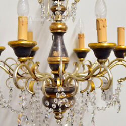 Chandelier Wooden Style Antique With Charms Of Diamond 6 Lights