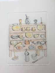 Signed Original Watercolour And Etching Gillian Whaite Childs Dolls Dresser