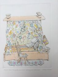 Signed Original Watercolour And Etching Gillian Whaite Childs Doll Four Poster Bed