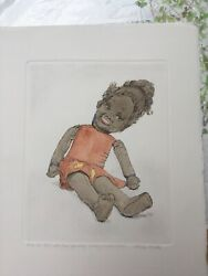 Signed Original Watercolour Etching Gillian Whaite Childs Toy Girl Doll Ear Ring