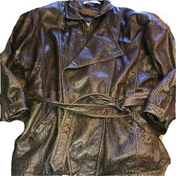 Andrew Marc Leather Jacket Brown Coat Embossed Reptile Croc Print Belted VTG XL $149.50