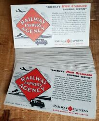 Railway Express Agency Vtg Paper Advertising Card Ink Blotter Size Lot Of 27
