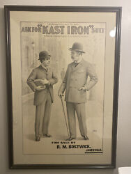 Antique Advertising Poster Kast Iron Suit For Straus Glaser And Co Chicago C1894