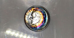 1951-p Roosevelt Dime Ngc Pf67star Vibrant Blue And Fuchsia Color Rainbow Toned