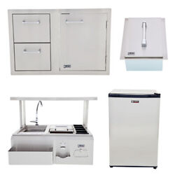 Lion Bbq Door/drawer Combo W/ Refrigerator, Ice Chest, Bar Center With Top Shelf
