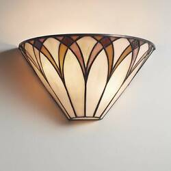 Style Wall Light Sconce Bronze 6 Fixture Amber Stained Glass Bedroom