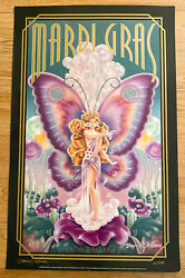 1996 Butterfly Queen Mardi Gras Poster New Orleans Signed David Johnson