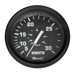 Faria Euro Black 4 30 Knot Speedometer For Mechanical Pitot Tube 32809