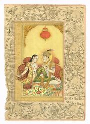 Mughal Miniature Painting Handmade King And Queen Erotic Scene Finest Artwork