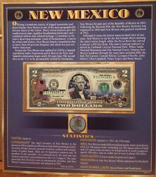 United States Enhanced 2 Dollar Bill And Quarter Collection New Mexico State