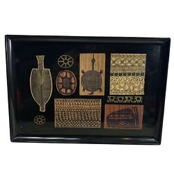 Vintage Couroc Of Monterey Black Lacquer Gold Tray African Tribal Totem Design