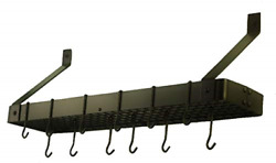 Old Dutch Wall-mount Bookshelf Pot Rack With Grid And 12 Hooks, Oiled Bronze, 3...