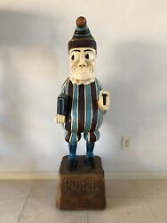 80s Mr Punch Cigar Advertising Trade Statue Hand Carved John Gallagher Tobacco