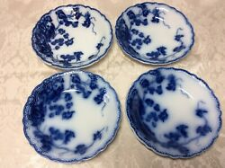 Johnson Brothers England Flow Blue Kenworth 4 Berry Sauce Bowls No Chips