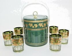 6 Cera Mid Century Golden Grapes Green Band Rock Glasses And Matching Ice Bucket