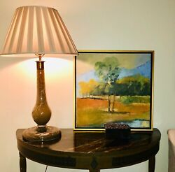 Landscape Art Abstract Oil Painting, Golf Course, Great Condition-framed