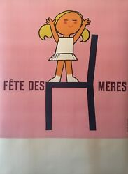 Original French Vintage And039fandecircte Des Mandegraveresand039 1950and039s Advertising Poster And039mothers Dayand039